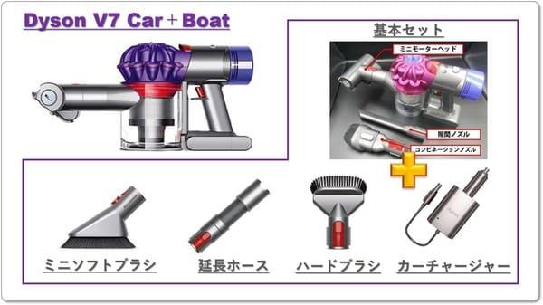 Dyson V7 Car+Boatの付属品