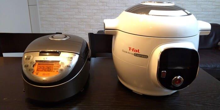クックフォーミーと炊飯器の比較。圧倒的な存在感