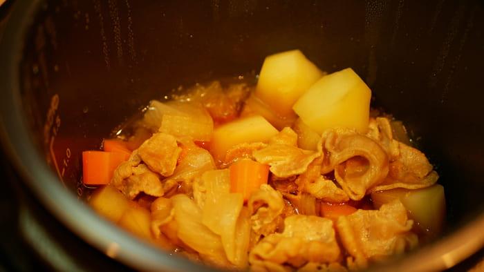 調理が終わったら、煮詰めます
