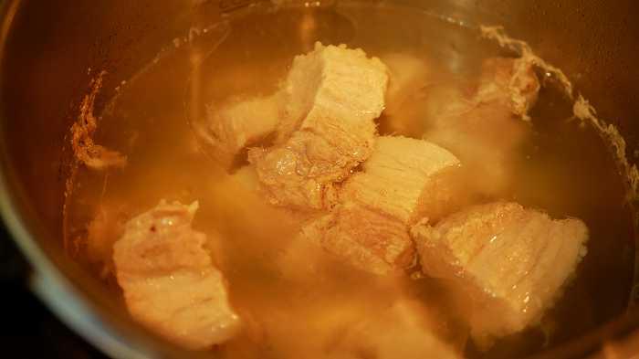 豚肉が茹で上がりました