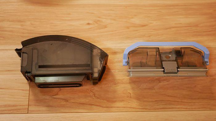 ルンバe5のダストボックス(左)とルーロ310のダストボックス(右)